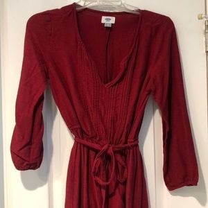Red boho dress with mid length sleeves